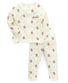 ToffyHouse Full Sleeves Night Suit Monkey Print - Cream