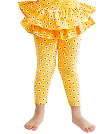D'chica Fun And Funky Leggings With Frilly Skirt For Girls - Yellow