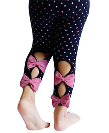 D'chica Polka And Bows Buttonhole Leggings For Girls - Navy Blue