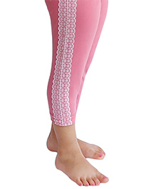 D'chica Sassy Leggings For Girls With A Dainty Lace Panel - Pink