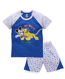 Eteenz Raglan Sleeves T-Shirt And Shorts Mickey Mouse Print - Blue Grey