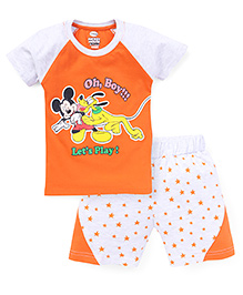 Eteenz Raglan Sleeves T-Shirt And Shorts Mickey Mouse Print - Orange Grey