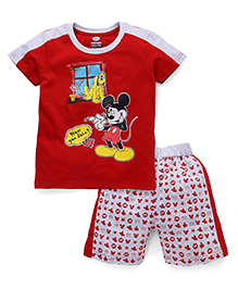 Eteenz Mickey Mouse Print T-Shirt And Printed Shorts Set - Red