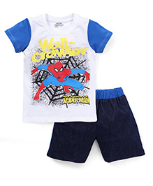 Eteenz Half Sleeves T-Shirt And Shorts Spider Man Print - White Navy