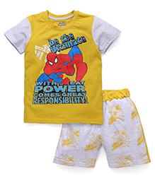 Eteenz Half Sleeves T-Shirt And Shorts Spider Man Print - Yellow Light Grey