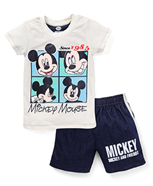 Eteenz Half Sleeves T-Shirt And Shorts Mickey Mouse Print - Off White Navy