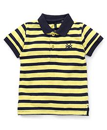UCB Half Sleeves T-Shirt Stripes Print - Navy Yellow