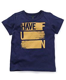 UCB Half Sleeves T-Shirt Have Fun Print - Navy Blue