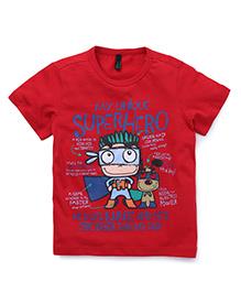 UCB Half Sleeves T-Shirt Superhero Print - Red