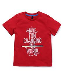 UCB Half Sleeves T-Shirt Have Fun Print - Red
