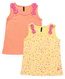 UCB Sleeveless Bow T-Shirt Pack Of 2 - Orange & Yellow
