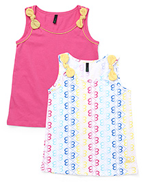 UCB Sleeveless Bow T-Shirt Pack Of 2 - Pink & White