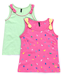 UCB Sleeveless Bow T-Shirt Pack Of 2 - Green & Pink