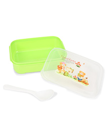 Teddy And Flower Design Lunch Box With Spoon - Green