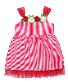 Chocopie Partywear Singlet Striped Frock With Floral Motifs - Pink