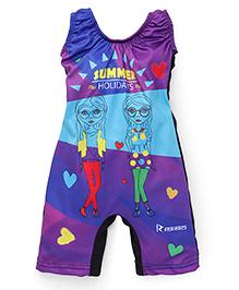 Rovars Sleeveless Legged Swimsuit Summer Holidays Print - Multicolour