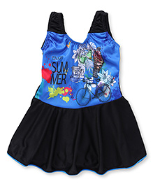 Rovars Frock Style Swimsuit Multiprint - Black Blue