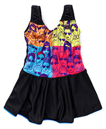 Rovars Frock Style Swimsuit Bicycle - Black Multicolor