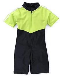 Rovars Half Sleeves Legged Swimsuit - Black Green
