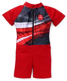 Rovars Half Sleeves Legged Swimsuit - Red