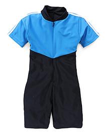 Rovars Half Sleeves Legged Swimsuit - Blue Black
