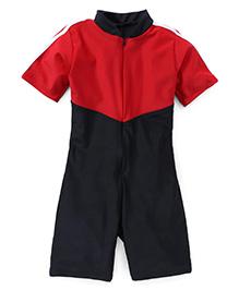 Rovars Half Sleeves Legged Swimsuit - Red Black