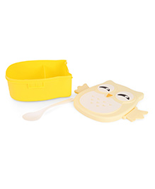 Lunch Box With Spoon Owl Print - Yellow