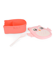 Lunch Box With Spoon Owl Print - Pink Peach