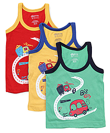 Bodycare Sleeveless Printed Vest Pack of 3 - Blue Yellow Green (Colors & Prints May Vary)