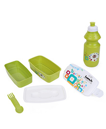 Square Lunch Box And Water Bottle - Green & White
