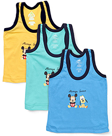 Bodycare Sleeveless Vest Pack of 3 - Yellow Aqua Blue (Colors and Prints May Vary)