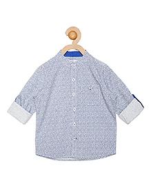Campana Full Sleeves Chinese Collar Shirt  - White & Blue