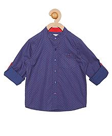 Campana Full Sleeves Chinese Collar Shirt  - Navy & Red