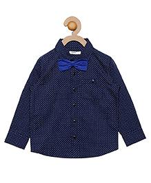 Campana Full Sleeves Shirt With Bowtie - Navy & Royal Blue