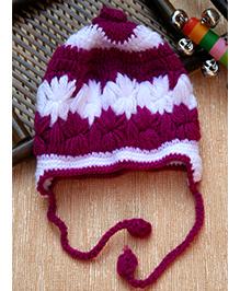 Little Bunnies Hand Knitted Flower Applique Crochet Cap - Fuschia Pink