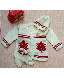 Little Bunnies Tree Embroidery Design Sweater With Cap & Socks Set - Cream