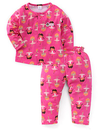 ToffyHouse Full Sleeves Night Suit Printed - Pink