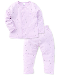 ToffyHouse Full Sleeves Night Suit Printed - Light Mauve