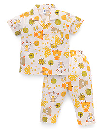 Teddy Half Sleeves Night Suit Bear Print - Off White