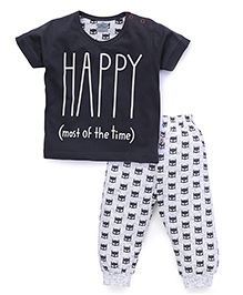 Mini Taurus Half Sleeves T-Shirts And Bottoms Set Happy Print - Dark Grey