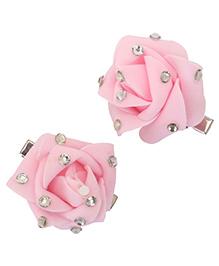 Yashasvi Hair Clip Flower Applique - Pink
