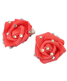 Yashasvi Hair Clip Flower Applique - Red