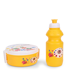 Round Lunch Box And Water Bottle - Yellow & White