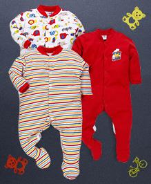 Kidi Wav Animal Kingdom Print Pack Of 3 Sleep Suits - Red