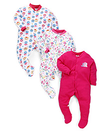 Kidi Wav Love Birds And Daddy'S Little Princess Print Sleep Suits Pack Of 3 - Pink