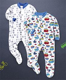 Kidi Wav Alphabet Prints Pack Of 2 Sleepsuits - Sky Blue