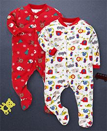 Kidi Wav Animal Kingdom And Cristmas Print Pack Of 2 Sleep Suits - Red