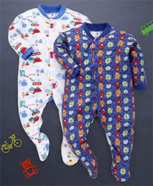 Kidi Wav Monster And Mini Digger Prints Pack Of 2 Sleep suits - Royal Blue