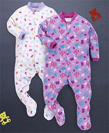 Kidi Wav Butterfly Prints Pack Of 2 Sleepsuits - Violet