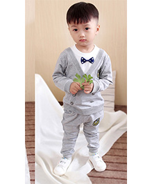 Pre Order - Superfie Mock Jacket & Bow Style Set - Grey
